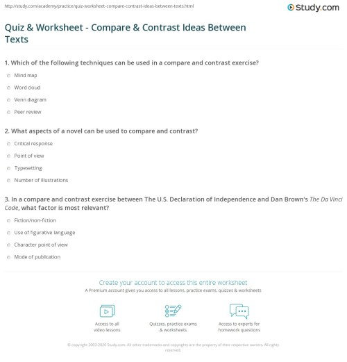 small resolution of Quiz \u0026 Worksheet - Compare \u0026 Contrast Ideas Between Texts   Study.com