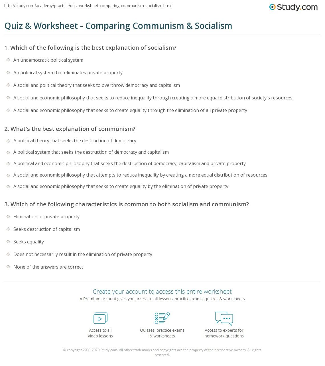 Printables Of Capitalism Vs Socialism Vs Communism Worksheet