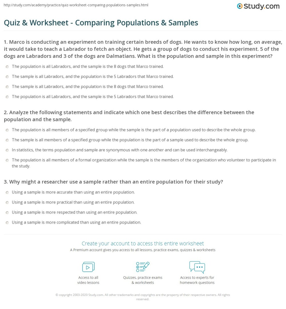 medium resolution of Quiz \u0026 Worksheet - Comparing Populations \u0026 Samples   Study.com