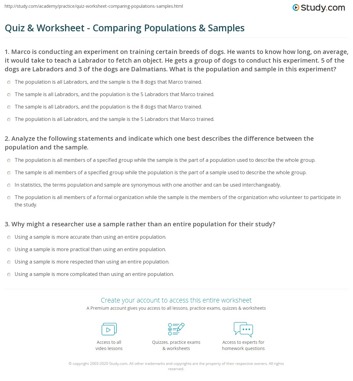 hight resolution of Quiz \u0026 Worksheet - Comparing Populations \u0026 Samples   Study.com