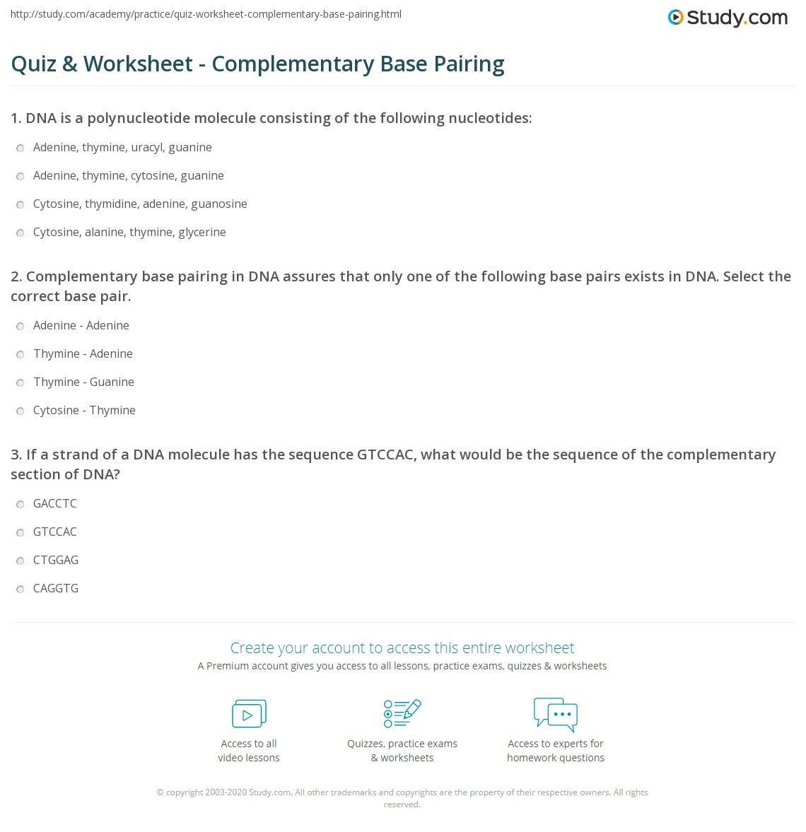 hight resolution of print complementary base pairing definition explanation worksheet