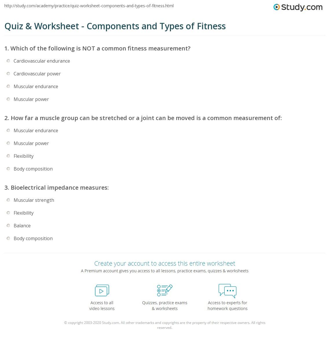 Workout Measurement Worksheets