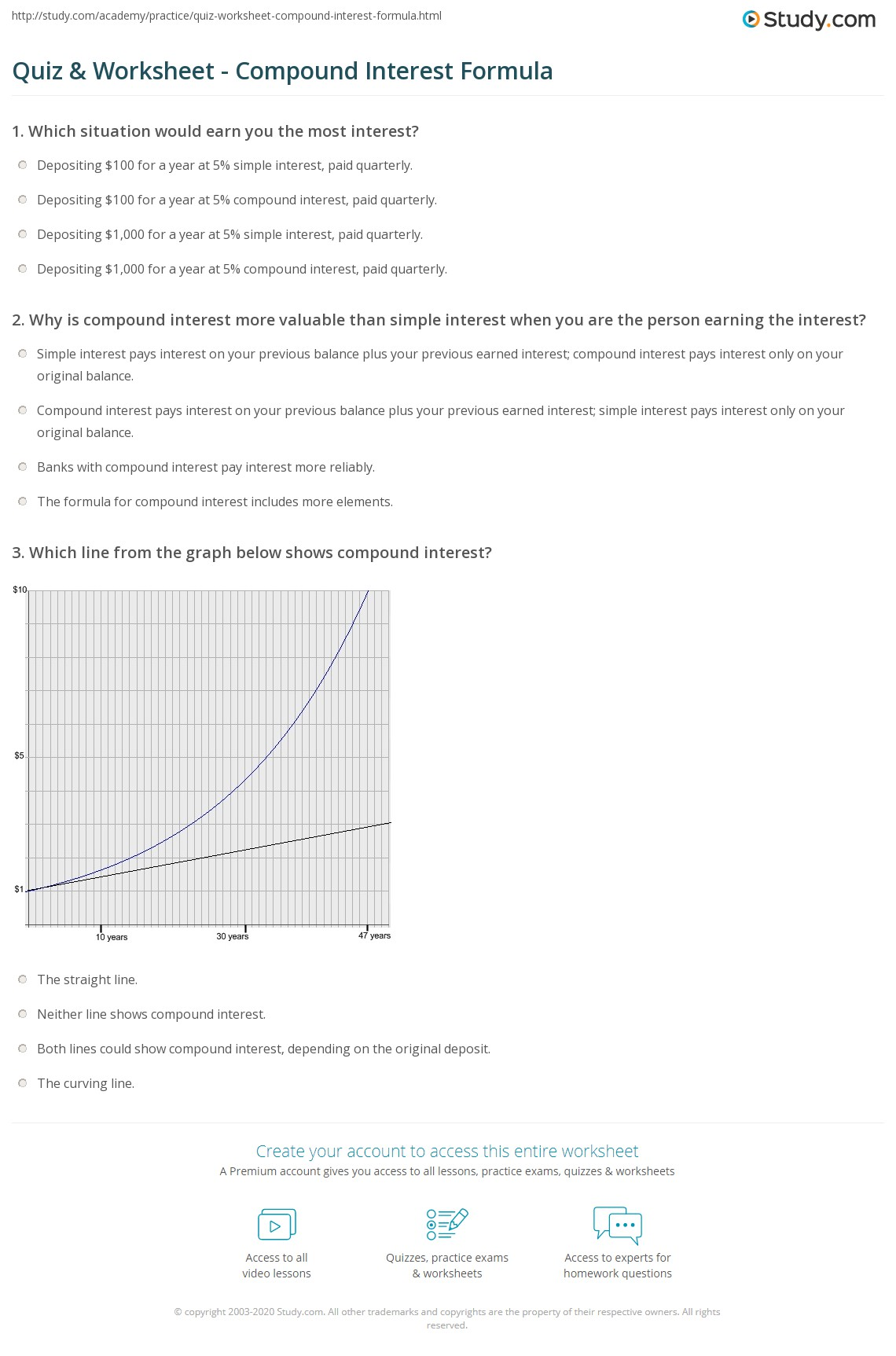 Simple And Compound Interest Worksheet Homeschooldressage