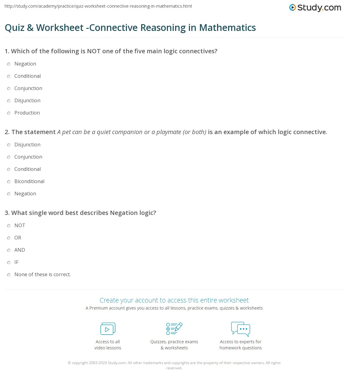 Quiz Amp Worksheet Connective Reasoning In Mathematics