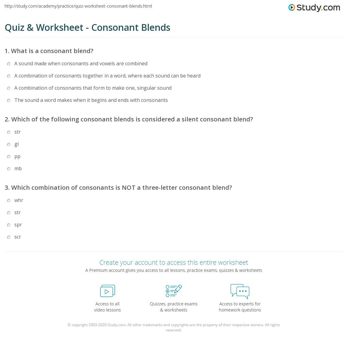 hight resolution of Grade 3 Consonant Blend Worksheets - Letter