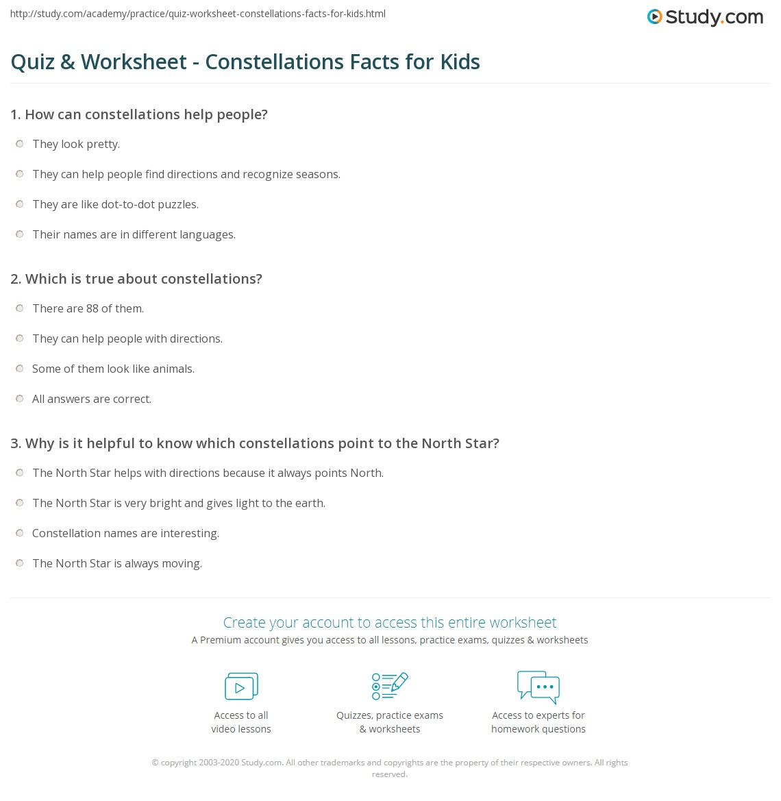 hight resolution of Quiz \u0026 Worksheet - Constellations Facts for Kids   Study.com