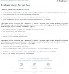 Quiz \u0026 Worksheet - Context Clues   Study.com [ 1233 x 1140 Pixel ]
