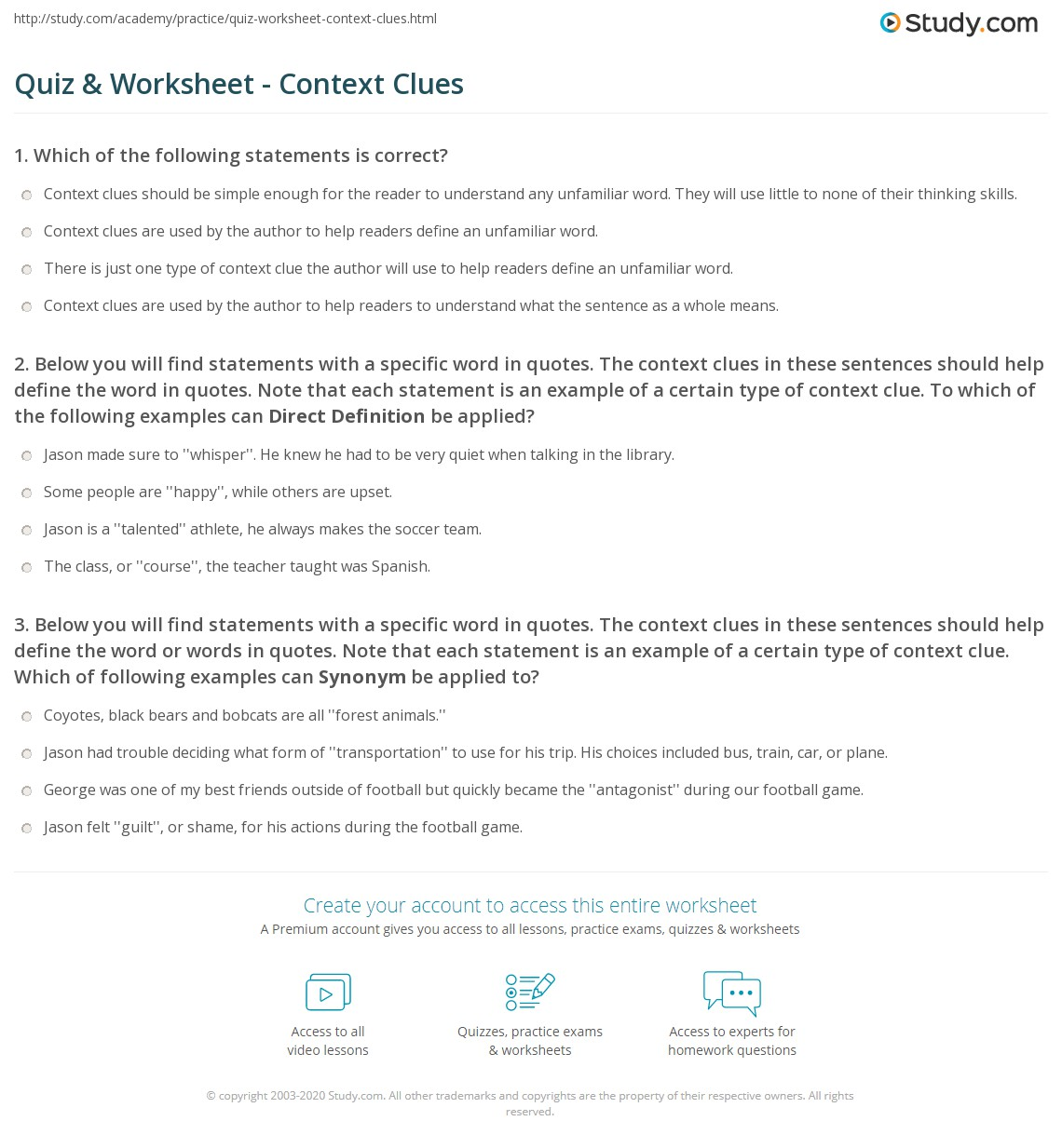 hight resolution of Quiz \u0026 Worksheet - Context Clues   Study.com