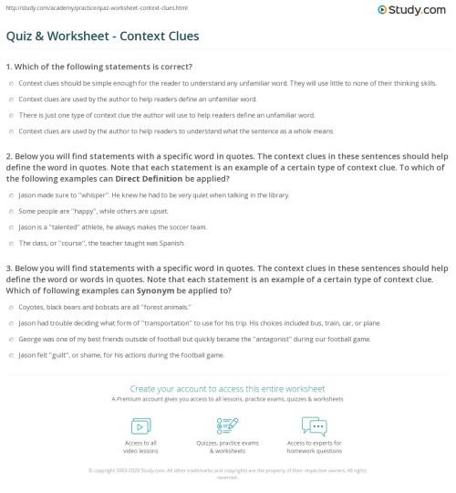 small resolution of Quiz \u0026 Worksheet - Context Clues   Study.com