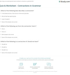 Quiz \u0026 Worksheet - Contractions in Grammar   Study.com [ 1169 x 1140 Pixel ]