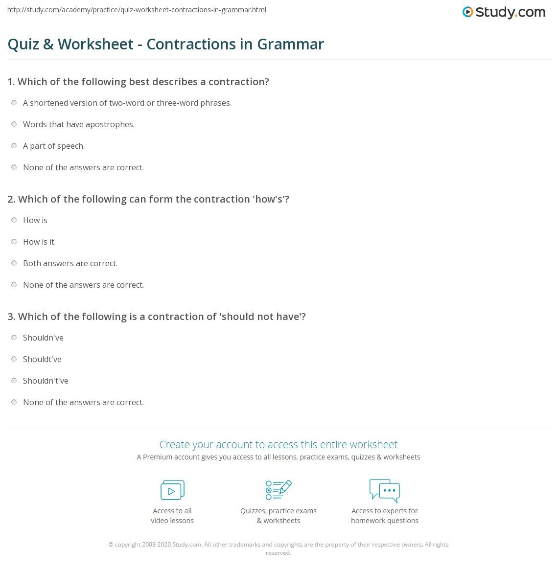 hight resolution of Quiz \u0026 Worksheet - Contractions in Grammar   Study.com