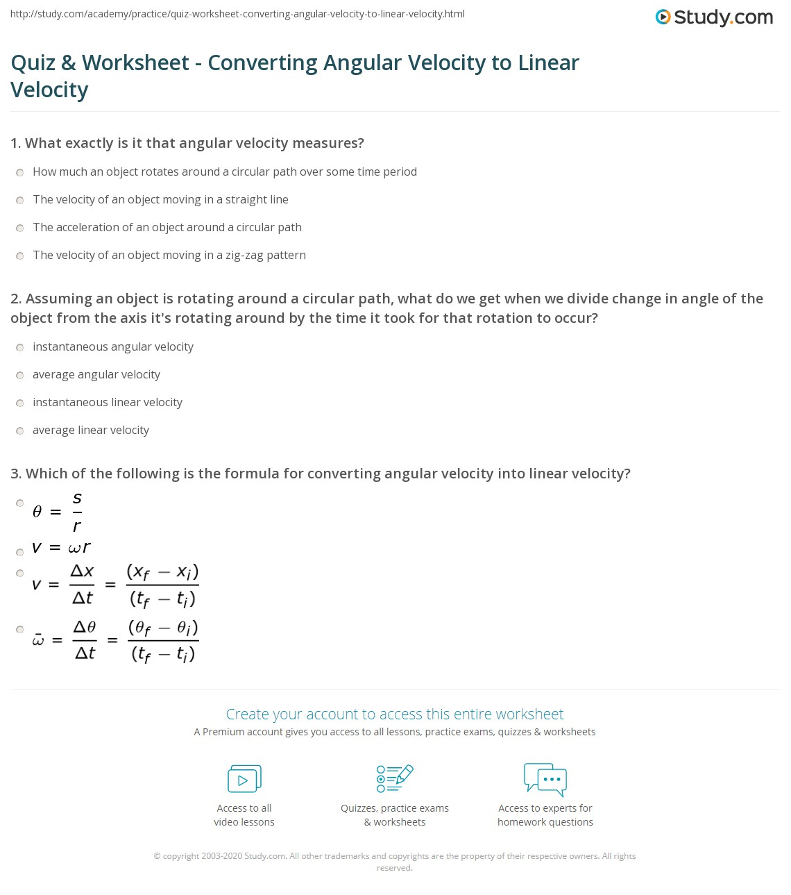 Angular Velocity Worksheet