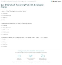 Quiz & Worksheet - Converting Units with Dimensional ...