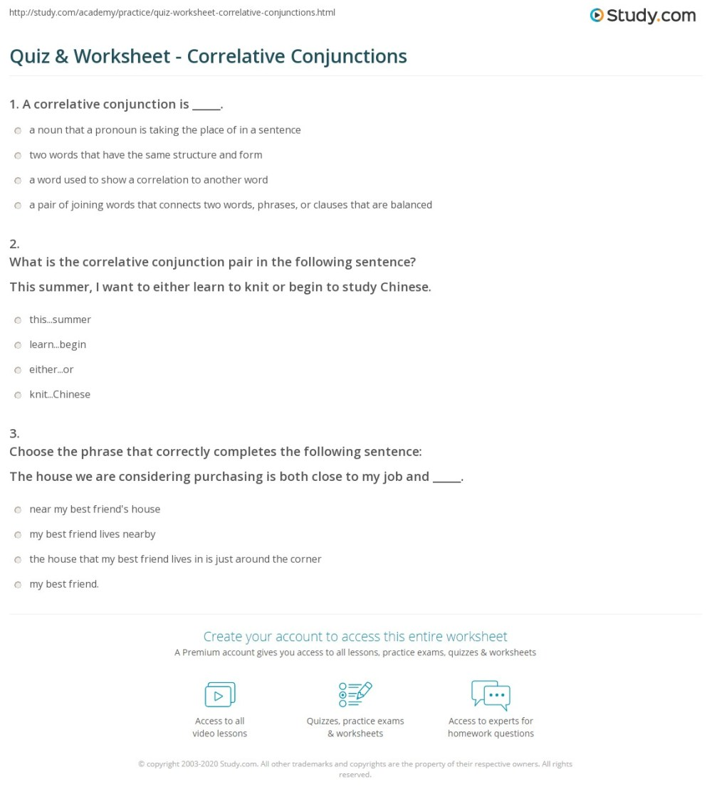 medium resolution of Quiz \u0026 Worksheet - Correlative Conjunctions   Study.com