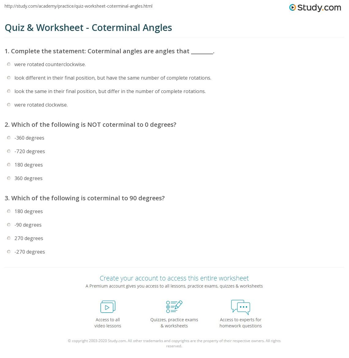 Printables Coterminal Angles Worksheet Messygracebook Thousands Of Printable Activities