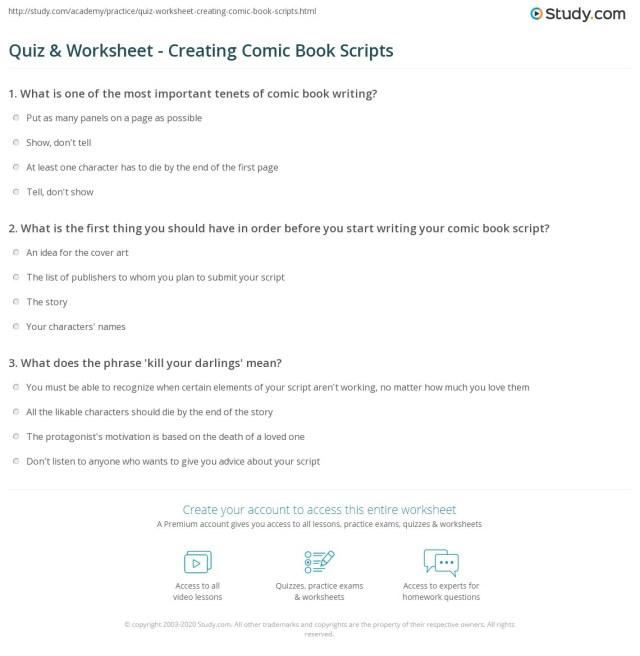 Quiz & Worksheet - Creating Comic Book Scripts  Study.com
