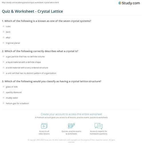 small resolution of Quiz \u0026 Worksheet - Crystal Lattice   Study.com