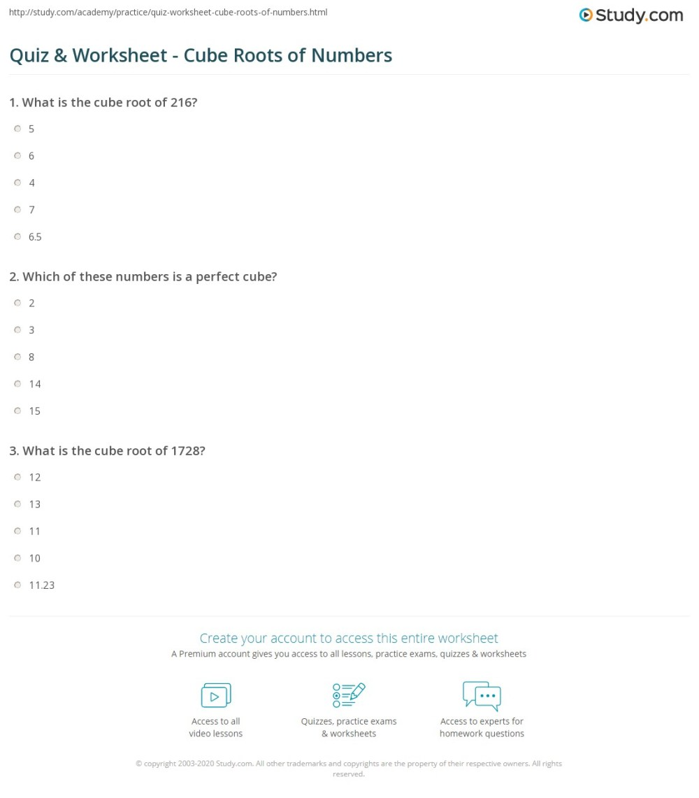 medium resolution of Quiz \u0026 Worksheet - Cube Roots of Numbers   Study.com
