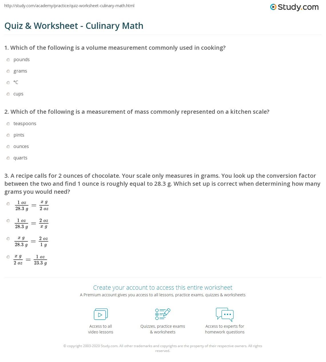 hight resolution of Quiz \u0026 Worksheet - Culinary Math   Study.com