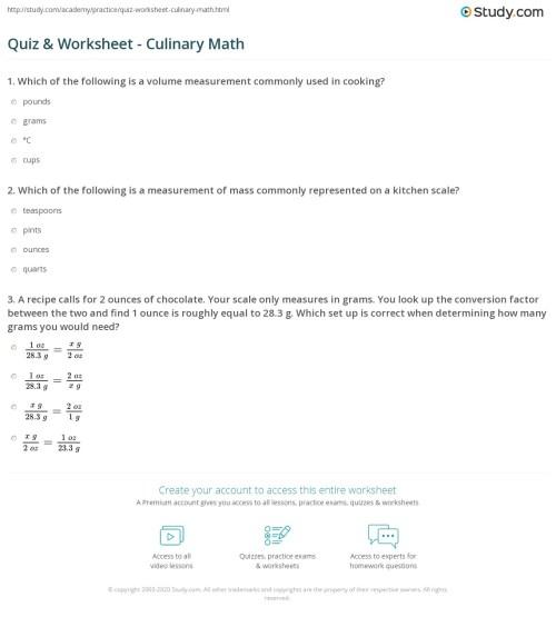 small resolution of Quiz \u0026 Worksheet - Culinary Math   Study.com
