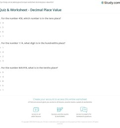 Quiz \u0026 Worksheet - Decimal Place Value   Study.com [ 1161 x 1140 Pixel ]