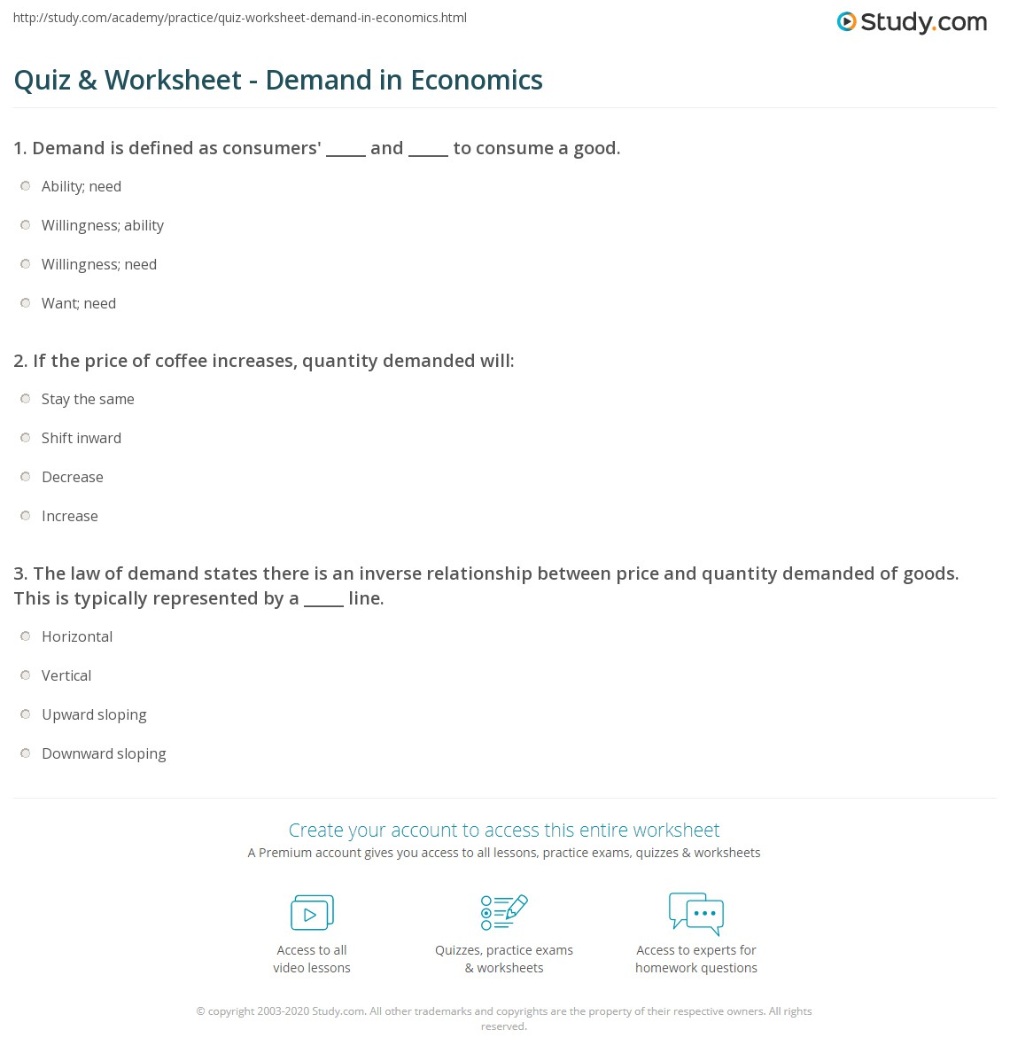 Worksheet Demand And Supply Answers