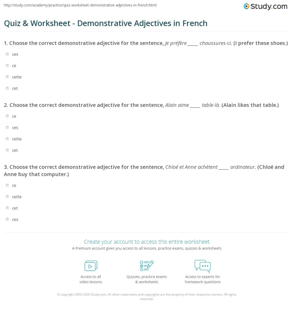 medium resolution of Quiz \u0026 Worksheet - Demonstrative Adjectives in French   Study.com