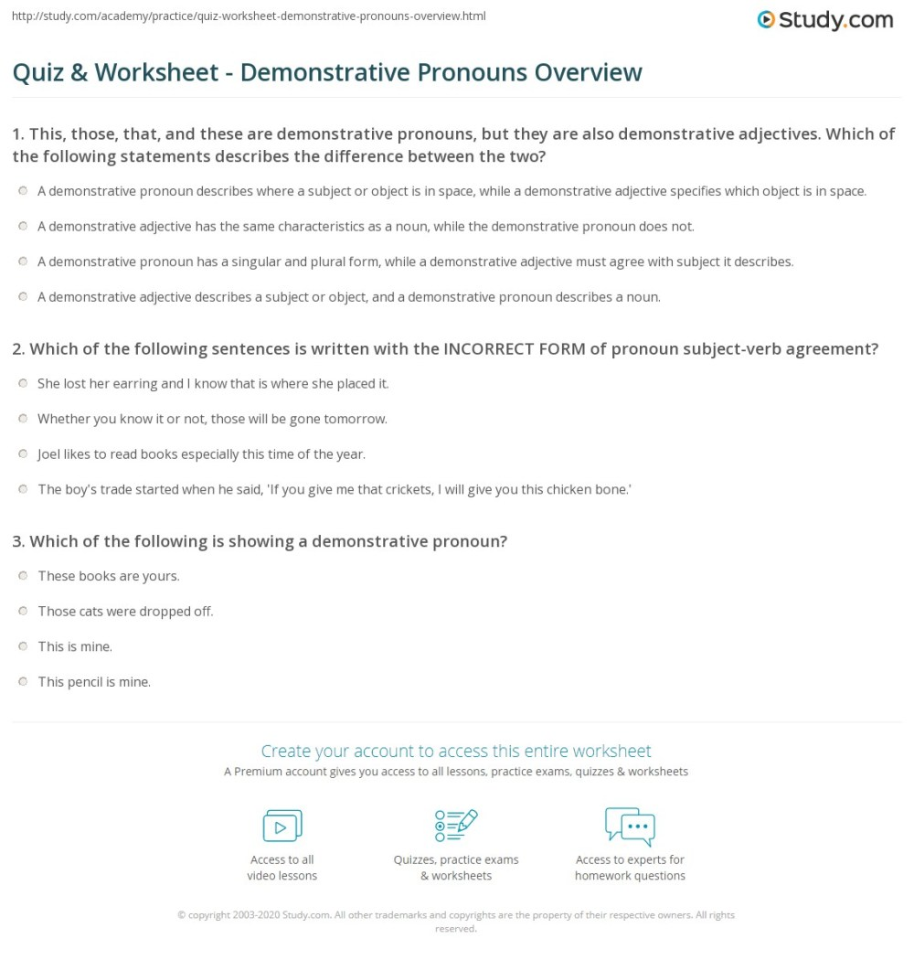medium resolution of Quiz \u0026 Worksheet - Demonstrative Pronouns Overview   Study.com