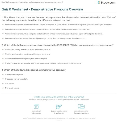 small resolution of Quiz \u0026 Worksheet - Demonstrative Pronouns Overview   Study.com