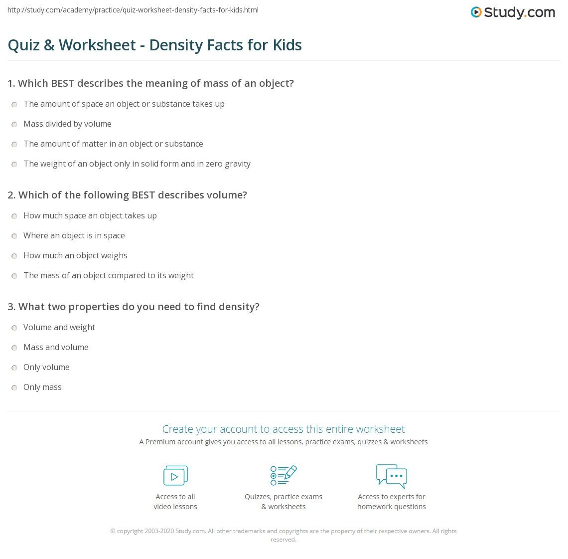 hight resolution of Quiz \u0026 Worksheet - Density Facts for Kids   Study.com