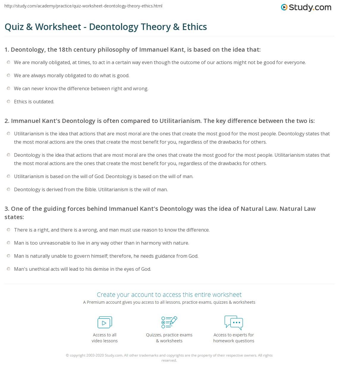 Kant Deontology Essay
