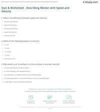 Quiz & Worksheet - Describing Motion with Speed and ...