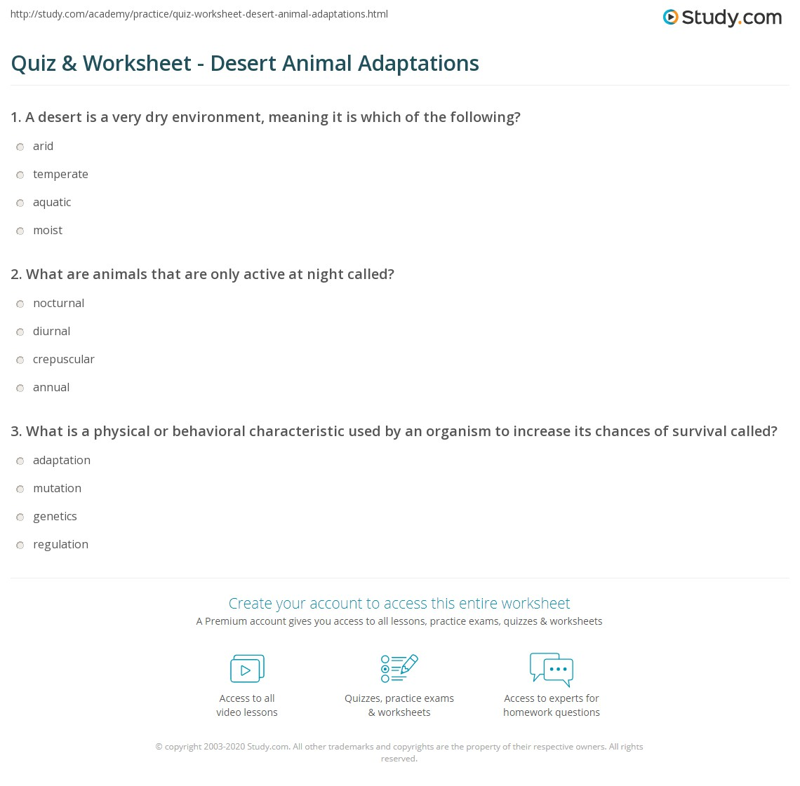 Animal Adaptation Grade 1 Worksheet
