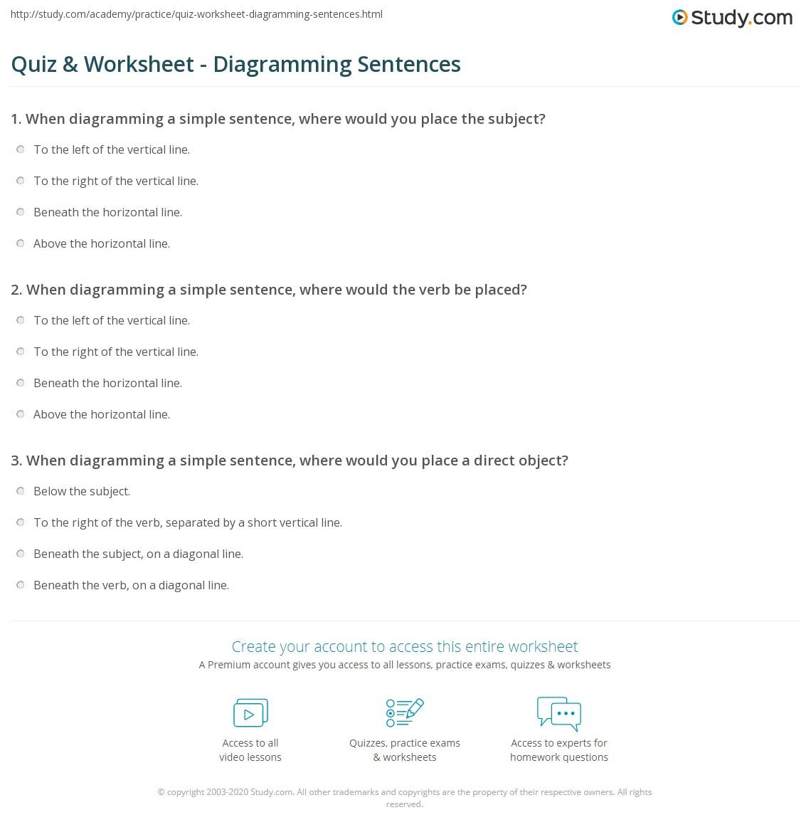 hight resolution of Quiz \u0026 Worksheet - Diagramming Sentences   Study.com