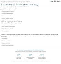Quiz & Worksheet - Dialectical Behavior Therapy | Study.com