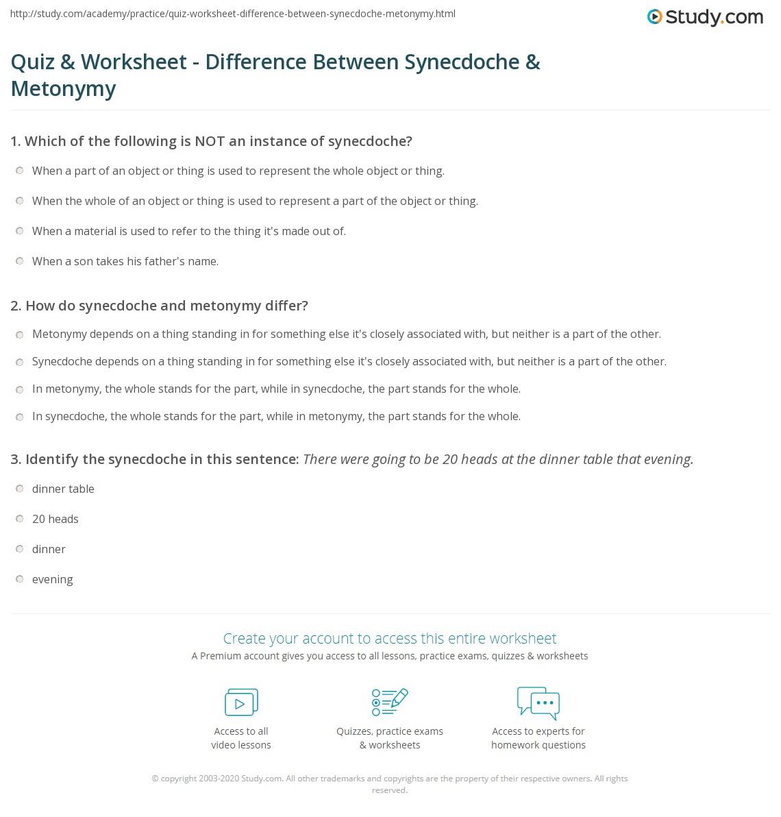 Example Metaphor Worksheet