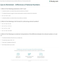 Quiz \u0026 Worksheet - Differences of Rational Numbers   Study.com [ 1197 x 1140 Pixel ]