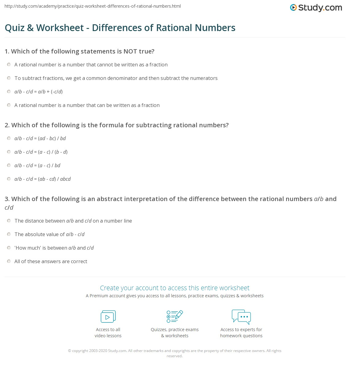 hight resolution of Quiz \u0026 Worksheet - Differences of Rational Numbers   Study.com
