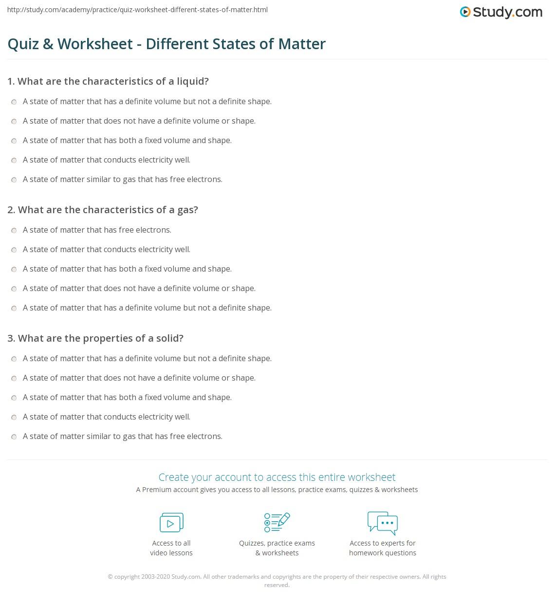 Describing Matter Worksheet Lesson Quiz