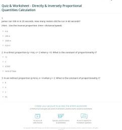 Quiz \u0026 Worksheet - Directly \u0026 Inversely Proportional Quantities Calculation    Study.com [ 1288 x 1140 Pixel ]
