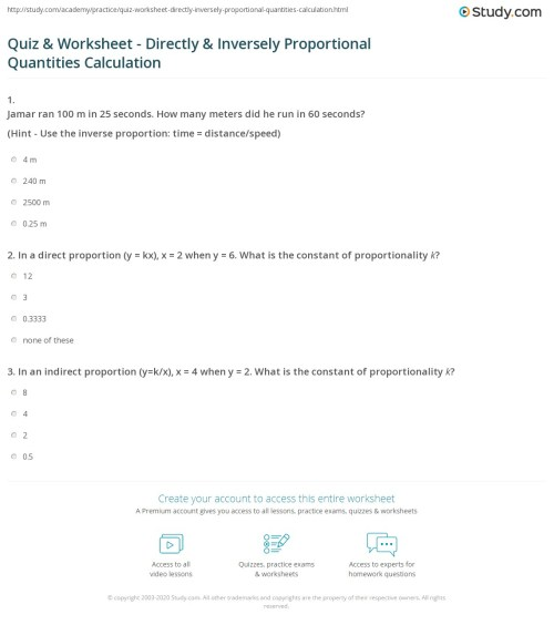 small resolution of Quiz \u0026 Worksheet - Directly \u0026 Inversely Proportional Quantities Calculation    Study.com