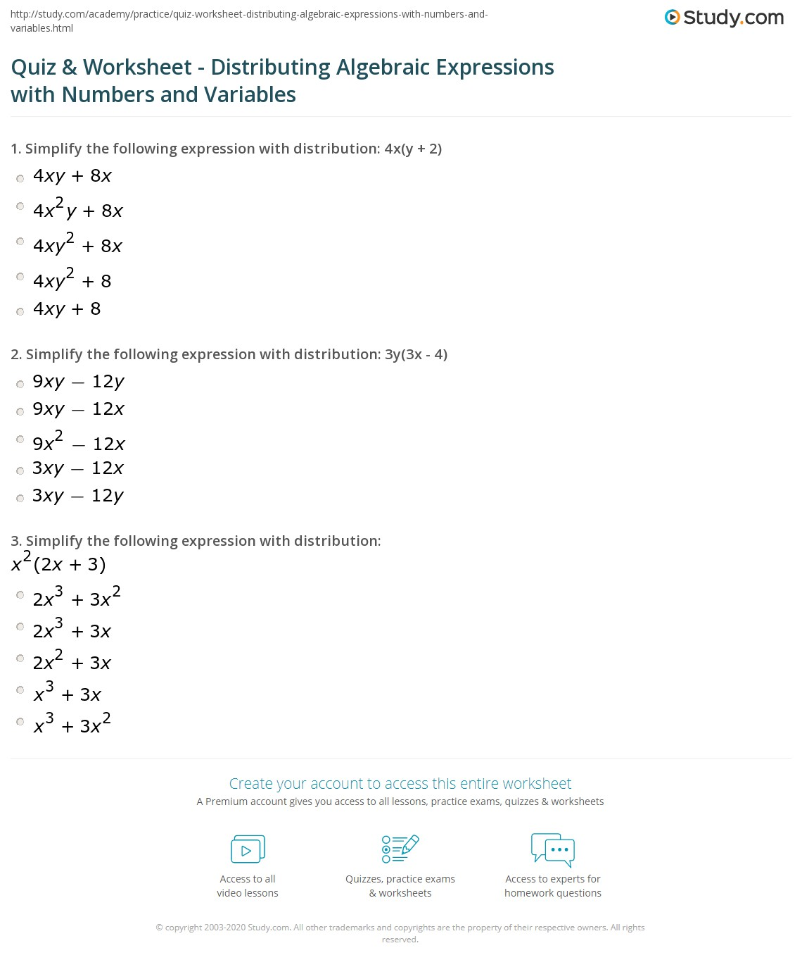 Variables Worksheet Grade 6