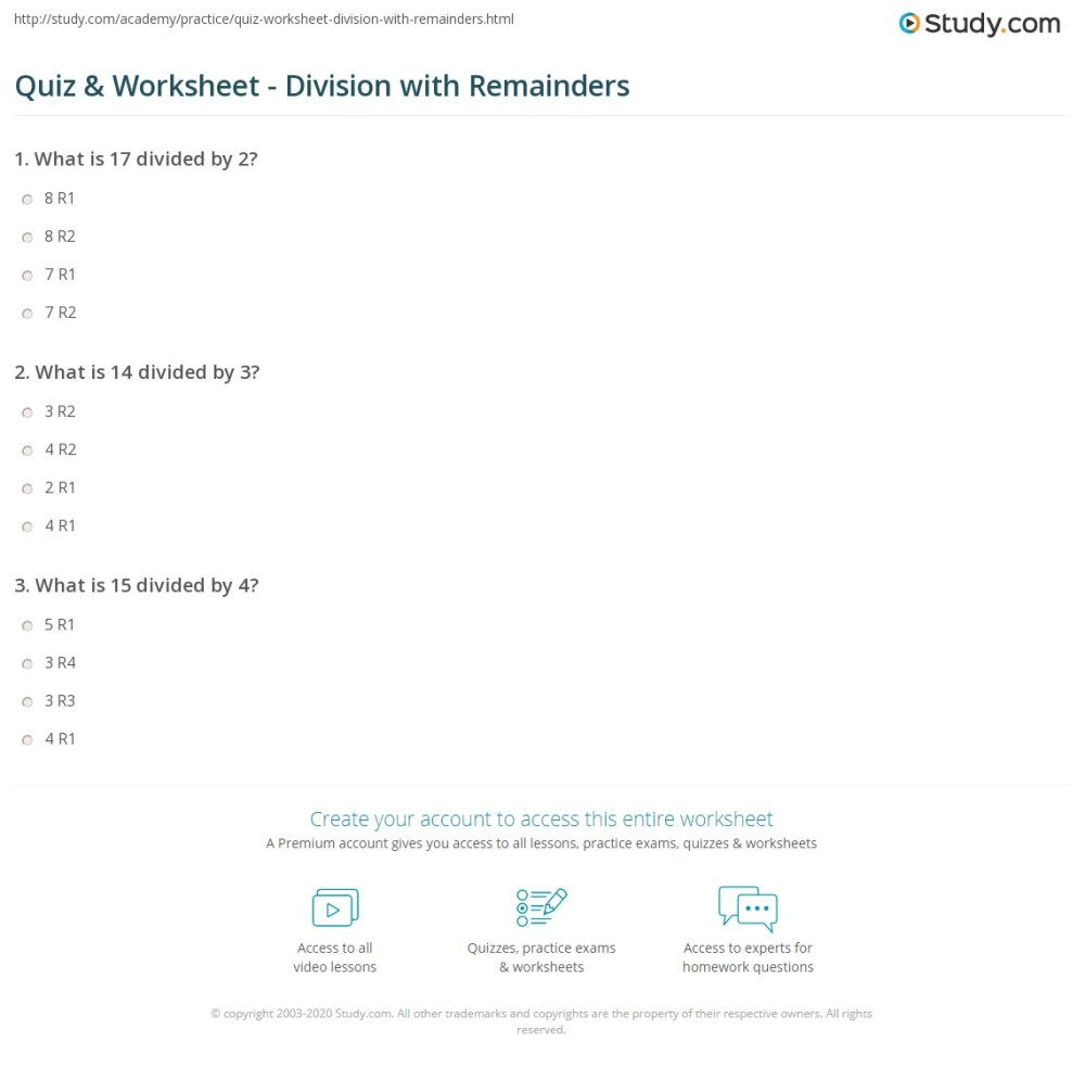 medium resolution of Quiz \u0026 Worksheet - Division with Remainders   Study.com