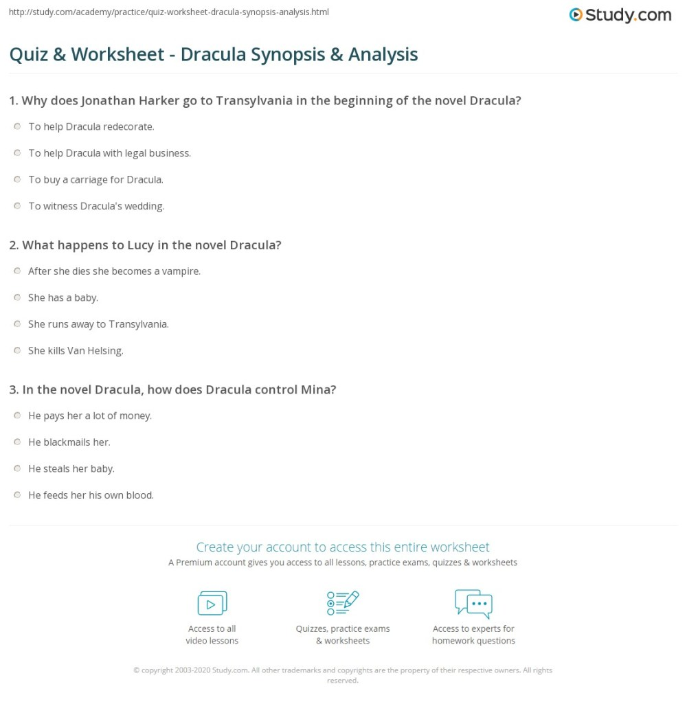 medium resolution of Quiz \u0026 Worksheet - Dracula Synopsis \u0026 Analysis   Study.com
