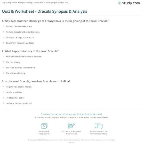 small resolution of Quiz \u0026 Worksheet - Dracula Synopsis \u0026 Analysis   Study.com