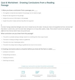 Quiz \u0026 Worksheet - Drawing Conclusions from a Reading Passage   Study.com [ 1316 x 1140 Pixel ]