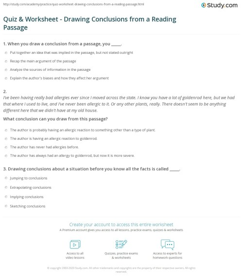 small resolution of Quiz \u0026 Worksheet - Drawing Conclusions from a Reading Passage   Study.com
