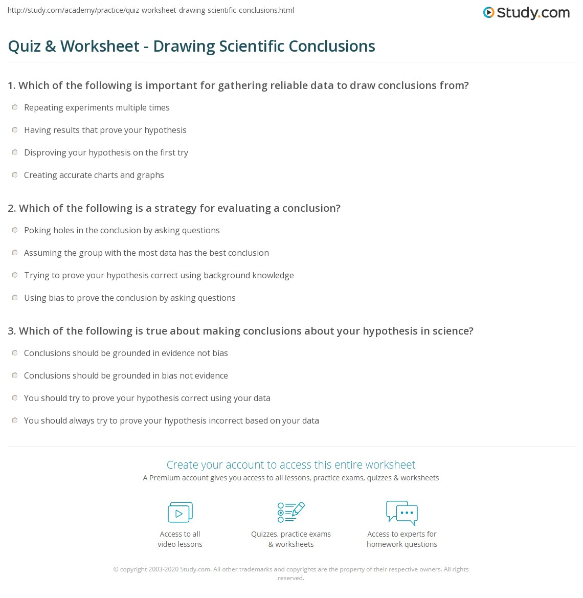 hight resolution of Quiz \u0026 Worksheet - Drawing Scientific Conclusions   Study.com