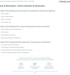 Quiz \u0026 Worksheet - Earth's Rotation \u0026 Revolution   Study.com [ 1153 x 1140 Pixel ]