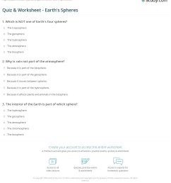 Quiz \u0026 Worksheet - Earth's Spheres   Study.com [ 1261 x 1140 Pixel ]